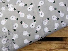 Tkanina bawełniana bałwanki na szarym 140g/m2