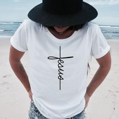 Brand Name: GROTOPKMaterial: COTTONSleeve Length(cm): ShortSleeve Style: REGULARFabric Type: BroadclothPattern Type: PrintClothing Length: REGULARDecoration: NONEStyle: CasualCollar: O-Neck Jesus Shirts, Christian Clothing, Christian Shirts, Cross Shirts, Jesus On The Cross, Shirt Designs, T Shirts For Women, Instagram, St Helena