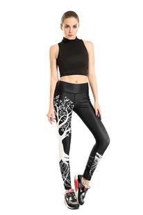 2016女士 许愿树黑底 显瘦 提臀运动透气吸汗九分瑜伽裤yoga-0009