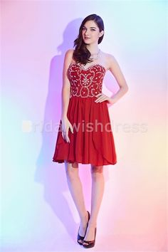 Red Just Above the Knee Chiffon/Silk Like Satin Cocktail Dresses/ Homecoming Dresses #reddress #dress #dresses #fashion #girl #wear #style