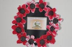 Anzac day wreaths - potato prints with poppy seeds