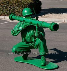 awesome homemade little green plastic army man costume tween halloween costumesguy - Boys Army Halloween Costumes