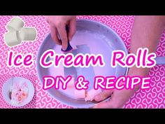 Ice Cream Rolls - Recipe & DIY Tutorial How to make & roll Thai fried Ice Cream Rolls at home with pink Strawberry Marshmallows - homemade Street Food from T. Cold Desserts, Ice Cream Desserts, Homemade Desserts, Homemade Cakes, Ice Cream Recipes, Ice Cream Taco, Fried Ice Cream, Diy Ice Cream, Cream Roll Recipe