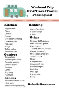 Trip RV and Travel Trailer Camping Packing List (with FREE printable!) Easy packing list for weekend RV, travel trailer and tent camping trips.Easy packing list for weekend RV, travel trailer and tent camping trips. Camper Packing List, Rv Camping Checklist, Packing List For Travel, Packing Lists, Camper List, Travel Trip, Camping Meal Planner, Camping Essentials List, Vacation Checklist