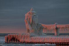 Winter sunset on a Michigan lighthouse...St. Joseph?