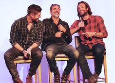 Jensen Ackles, Jeffrey Dean Morgan and Jared Padalecki #Asylum14 awwwww <3 <3 <3