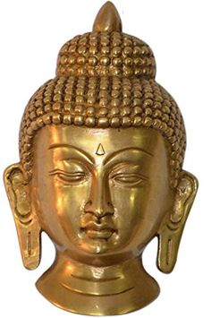 Small Buddha Wall Hanging Mask  Brass Sculpture Height 55 Inches -- Find out more about the great product at the image link. (This is an affiliate link) #WallSculptures