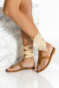 Ermioni design gladiator sandals for Women are handcrafted in Greece with premium quality waxed tan nubuck leather and detailed with our chain strap. Unique and feminine will upgrade your summer closet instantly. These elegant and unique flats fasten easily and safely yet ultra stylish with our signature silk laces that come in 15 colors. They are great for grounding your formal summer outfit. Elegant yet comfy and so lightweight that they feel as if you're wearing nothing at all. Tan Leather Sandals, Lace Up Sandals, Greek Sandals, T Strap Sandals, Gladiator Sandals, Flat Sandals, Bridal Sandals, Bridal Shoes, Bohemian Sandals