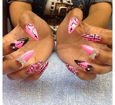 Pink and Black Stiletto Nails