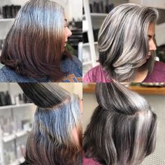 Highlights for gray hair help women transition. We list all the options for blending silver hair with lowlights, highlights, glossing, babylights, or full coverage. Find a low maintenance way to blend gray hair! Grey Hair Help, Long Gray Hair, Brown Blonde Hair, Grey Hair Roots, Grey Hair Transformation, Gray Hair Highlights, Lowlights For Gray Hair, Foil Highlights, Balayage Highlights