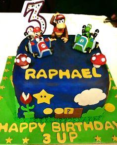 Super Mario themed birthday cake.