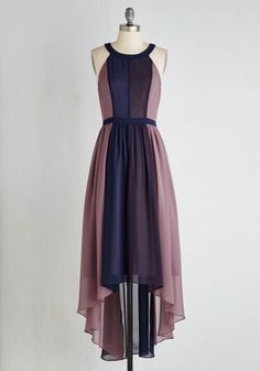 Peachy Queen Dress in Berry by ModCloth - Special Occasion, Wedding, Bridesmaid, Colorblocking, A-line, Sleeveless, Chiffon, Woven, Purple, Print, Party, Homecoming, High-Low Hem, Better, Exclusives, Private Label, Long, Variation