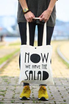 "Jutebeutel mit Typo ""Da haben wir den Salat"" / funny hipster tote bag made by purple via DaWanda.com"