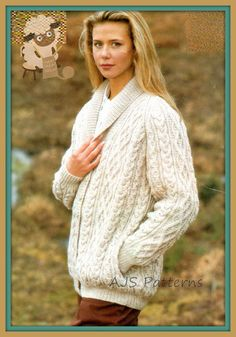 This PDF Knitting Pattern is for this fabulous Aran Jacket or Cardigan in a Cabled Design with a snug Shawl Collar and Raglan Sleeves. Knitted in Aran wool (USA worsted/ Australian 10 ply). To fit bust sizes 34-42 (66 cm to 107 cm). You will require a pair each of 3.75 & 4.50 mm