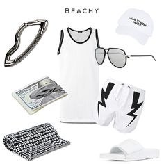 Beachy - Clockwise: Tank Top by DIESEL, Cap by NASASEASONS, Aviator Glasses by DIOR, Swim Shorts by NEIL BARRETT, Open-toe Slides by MAISON MARGIELA, Beach Towel by MARCELO BURLON, MAKT Money Clip and ARCUS carabiner by SVØRN -- #mensaccessories  #streetstyle #streetwear #styleformen #carabiner #keychain #money #moneyclip #summerstyle #beachstyle #allwhite #beach #luxury #mensluxury #luxurystyle #outdoors #streetwearfashion #mensjewelry #jewelryformen #mensfashion #margiela #diesel…