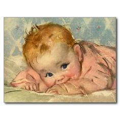 Vintage van illustratiekinderen en babys afbeelding die een schattig gelukkig babymeisje gekleed in een roze uitrusting kenmerken die en buiktijd rusten krijgen op een deken. Zij glimlacht en kauwt op haar sleeve.