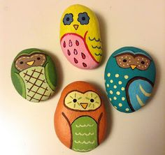 Rock owl paperweights