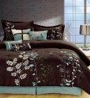 Legacy Decor 7-pcs Embroidered Microfiber Comforter Set Brown, Aqua, Green, White Queen Size