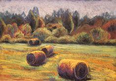 Hot Summer. pastels on black gessoed watercolor paper (29 x 42 cm), Keiu Kuresaar