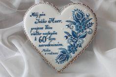 Dekorácie - Medovnikove srdce s modranskym ornamentom - 6011684_ Heart Cookies, Iced Cookies, Biscuit Cookies, Royal Icing Cookies, Fun Cookies, Sugar Cookies, Decorated Cookies, Elegant Cookies, Paint Cookies
