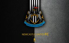 Download wallpapers Newcastle United FC, 4K, English football club, leather texture, Premier League, logo, emblem, Newcastle upon Tyne, England, United Kingdom, football