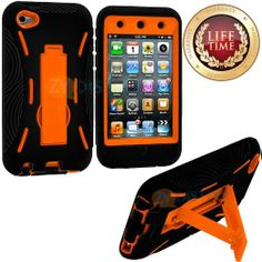 Amazon.com: myLife (TM) Black + Orange Tough Series (Body Armor Defender Glove) Case for iPod 4/4S (4G) 4th Generation iTouch (Built In Kick...