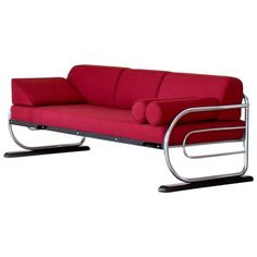 Lazy Boy Sofa Tubular Steel Couch or Daybed in Art D co Streamline Style circa From