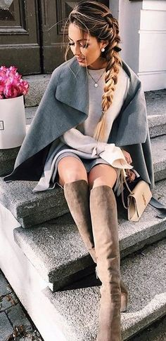 #winter #outfits /  Grey Cape // Cream Knit // Grey Skirt // Suede Knee High Boots