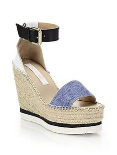 See by Chloé Glyn Chambray Espadrille Wedge Platform Sandals
