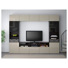Find affordable home furnishings and furniture, all in one store. Shop quality home furniture, décor, furnishings, and accessories. Tv Cabinet Design, Tv Wall Design, Tv Storage, Storage Spaces, Record Storage, Tv Ikea, Ikea Tv Wall Unit, Wall Units, Tv Unit Furniture