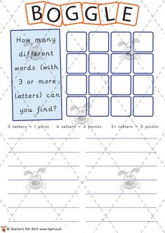 Teacher's Pet - Boggle Mat (easy) - Premium Printable Classroom Activities and Games - EYFS, KS1, KS2, boggle, spellings, dictionary, thesaurus, vocabulary