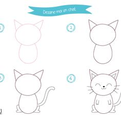 Tutos dessin animaux - Parent Resources, Tips, and Advice Cat Drawing, Drawing For Kids, Animal Gato, Animal Crafts For Kids, Rock Painting Designs, Pbs Kids, Step By Step Drawing, Infant Activities, Kids And Parenting
