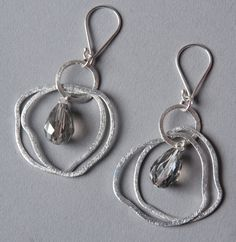 Handmade brushed silver earrings with crystals : Victoria Glynn bespoke jewellery is an eclectic fusion of vintage and contemporary style with an unconventional twist. Bespoke Jewellery, Contemporary Style, Silver Earrings, Victoria, Personalized Items, Crystals, Detail, Handmade, Vintage