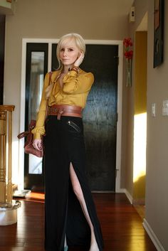Mustard shirt + black skirt. Love.