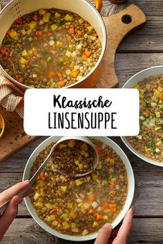 Klassische Linsensuppe Classic lentil soup The classic of soups Goes on every season or never disappoints We love classic recipes soup Related posts: The Best Classic Zucchini Bread Zucchini Soup [Soup of the Week] Zucchini-Walnuss-Suppe Zucchini soup Easy Soup Recipes, Veggie Recipes, Vegetarian Recipes, Dinner Recipes, Healthy Recipes, Vegetable Soup Healthy, Healthy Soup, Soup Kitchen, Smart Kitchen