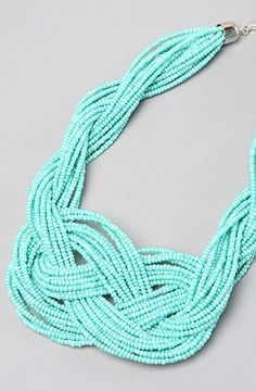 Turquoise Beaded, Twisted, and Knotted Necklace