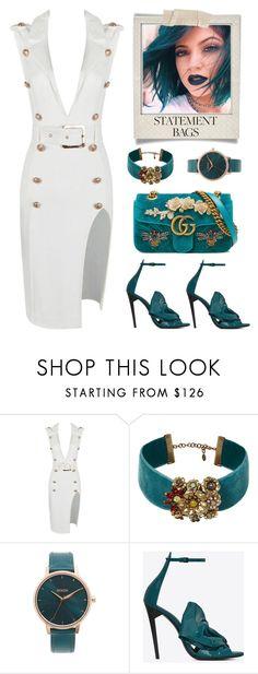 """Statement Bags"" by carolycia on Polyvore featuring moda, Elizabeth Cole, Nixon, Yves Saint Laurent, Polaroid y Gucci"