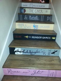 27 Painted Staircase Ideas Which Make Your Stairs Look New Tags: painted staircase, painted plywood stairs, painted stairs black, painted stairs ideas pictures Book Staircase, Staircase Design, Staircase Ideas, Painted Staircases, Spiral Staircases, Stairway To Heaven, Stairway Art, Staircase Makeover, Stair Decor