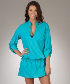 Splendid Carnival Women's Teal Bathing Suit Cover-Up Tunic