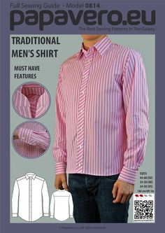 Traditional men's shirt, 13 sizes   Craftsy