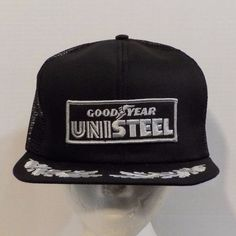 GoodYear Unisteel VTG Snapback Baseball Truckers Hat Cap 1980s Patch Logo   Goodyear  BaseballCap 523e5ec05bcb
