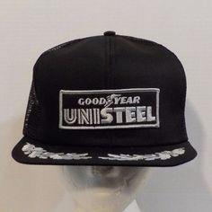 GoodYear Unisteel VTG Snapback Baseball Truckers Hat Cap 1980s Patch Logo #Goodyear #BaseballCap