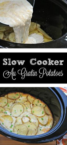 SLOW COOKER au Gratin Potatoes  -  not only is this recipe ideal for any day of the week, along side chicken, pork or beef BUT it's going to be a GAME CHANGER for the holidays.  No more potato dish taking up that valuable oven space!  Now you've got room and time!  I will admit, I wasn't sure this recipe was going to work.  I don't like potatoes that have weird consistency but these had the perfect consistency to them.  I'm so glad I tried this!