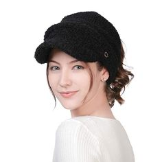 5390b3274f49f FancetAccessory Womens Wool Beanie Visor Crochet Knit Slouch Skull Cap  Ponytail Long Hair Cold Weather Winter