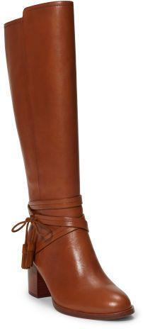 LOVE the tasseled ties! Ralph Lauren Geena Leather Knee-High Boot