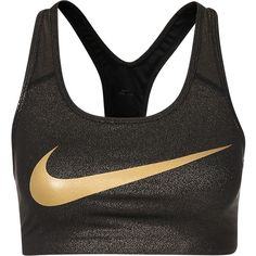 Nike Pro Classic Swoosh Gold Bra ($43) ❤ liked on Polyvore featuring activewear, sports bras, racer back sports bra, nike sportswear, gold sports bra, racerback sports bra and nike