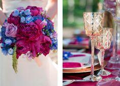 This jewel toned bouquet is so elegant!