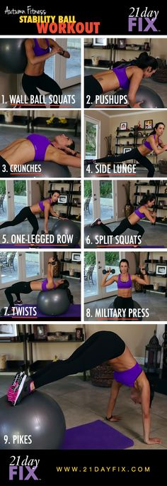 Many of these are the same exercises that i did in therapy. Stability ball workout, ball workout, in-home workout, quick workout, quick fixes, 21 day fix, autumn calabrese