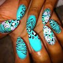 Animal Print Teal Stiletto Nails Pictures, Photos, and Images for . Nail Art Designs, Nail Designs Spring, Nails Design, Fabulous Nails, Gorgeous Nails, Trendy Nails, Cute Nails, Fancy Nails, Stylish Nails