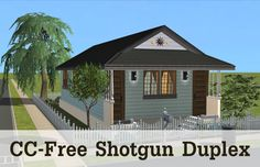 Andreva Sims: Furnished & totally cc-free residential lot: the. Cottages And Bungalows, Shotgun, Sims, Two By Two, Outdoor Structures, Outdoor Decor, Home Decor, Free, Decoration Home